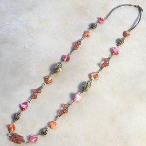 Coldwater Creek Necklace Pink Orange Gold Boho